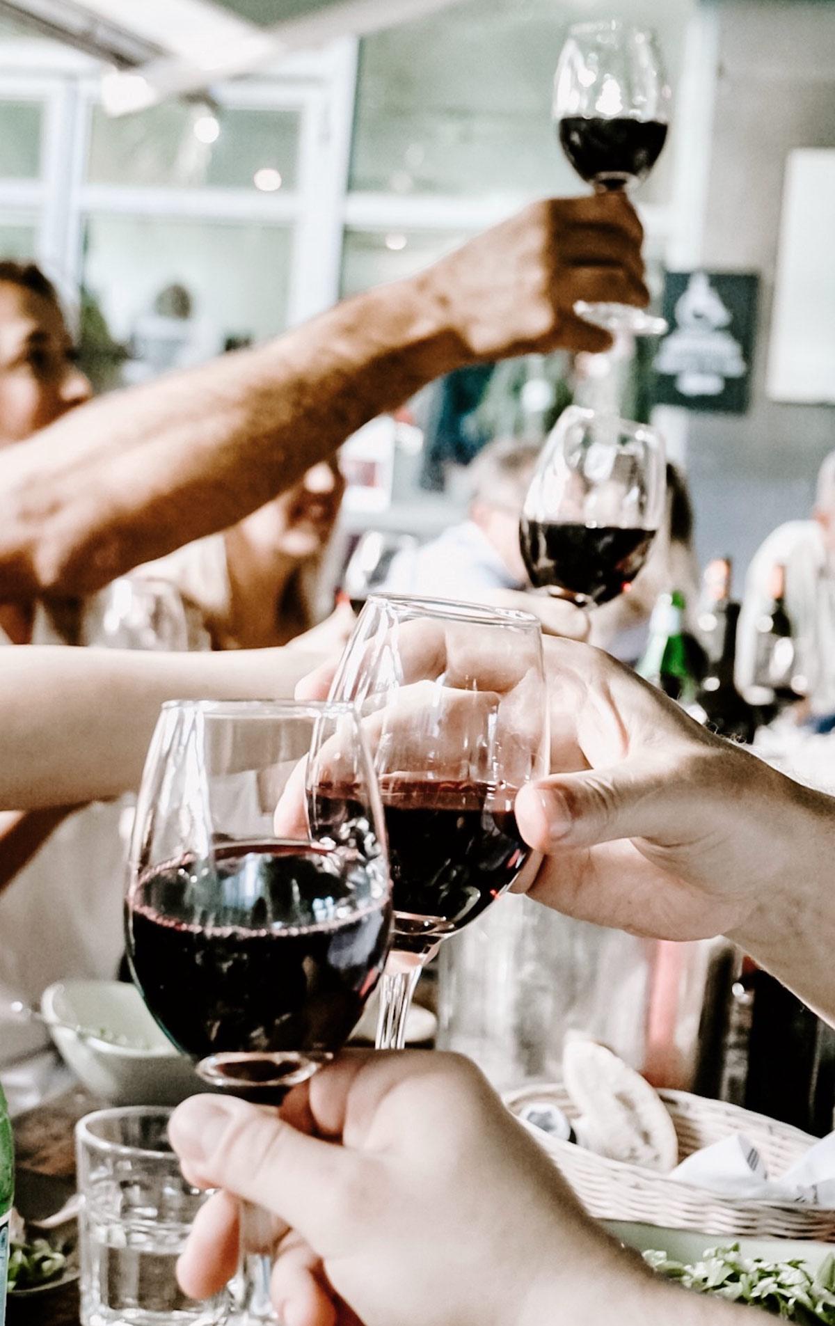 repas entre amis degustation vin rouge